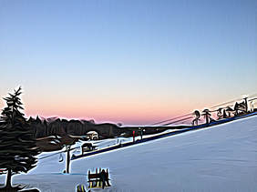 Picture of the snowy hill at Pine Knob with a soft pink sunset in the background. Pine trees and a chair lift can be seen.