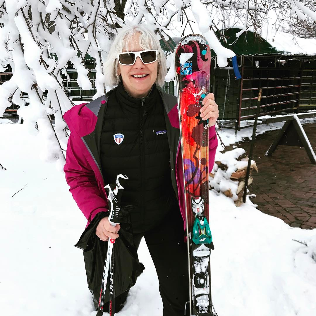 Picture of Pine Knob Ski School instructor Monica, also the inventor of the SkiRing.