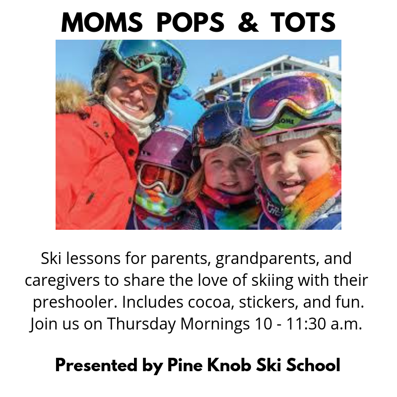 Picture of an adult woman and three children dressed up in colorful ski gear, helmets, and ski goggles, smiling at the camera. Text in this photo states